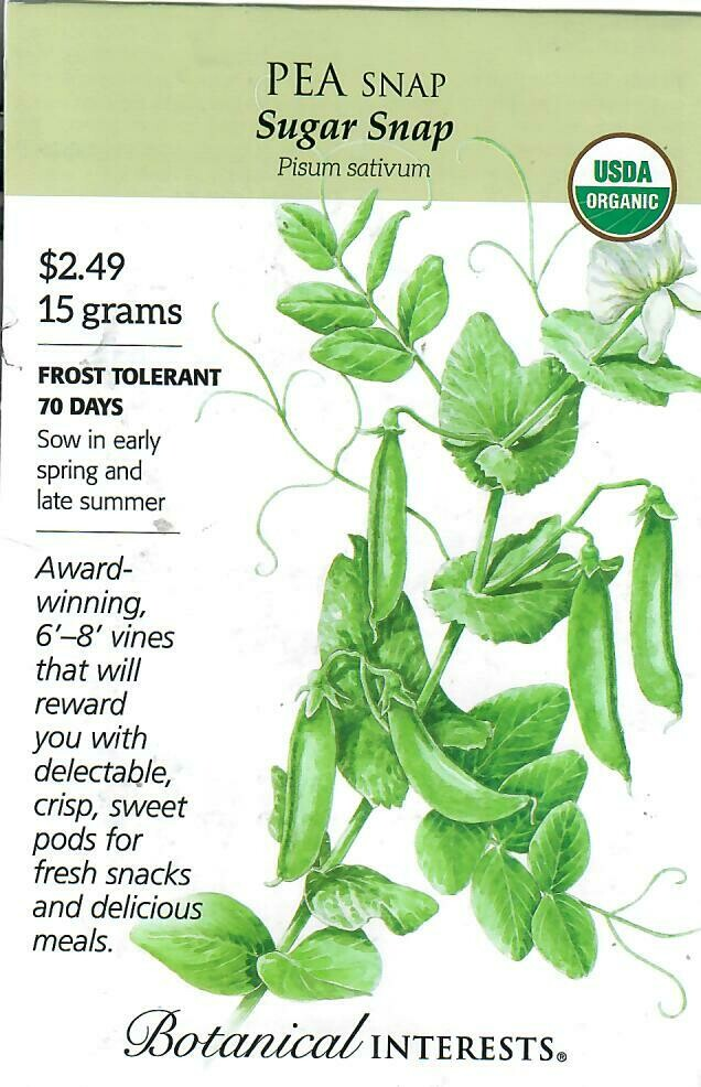 Pea Snap Sugar Snap Org Botanical Interests
