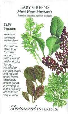 Baby Greens Must Have Mustards LG Packet Botanical Interests