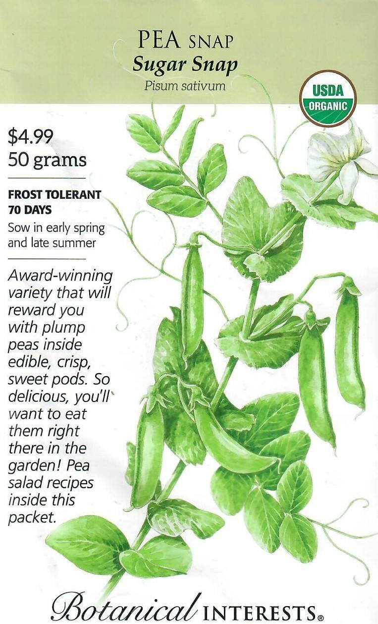 Pea Snap Sugar Snap Org LG Packet Botanical Interests