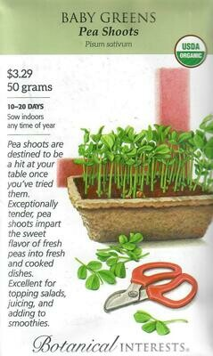 Baby Greens Pea Shoots Org LG Packet Botanical Interests
