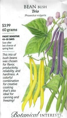 Bean Bush Trio LG Packet Botanical Interests