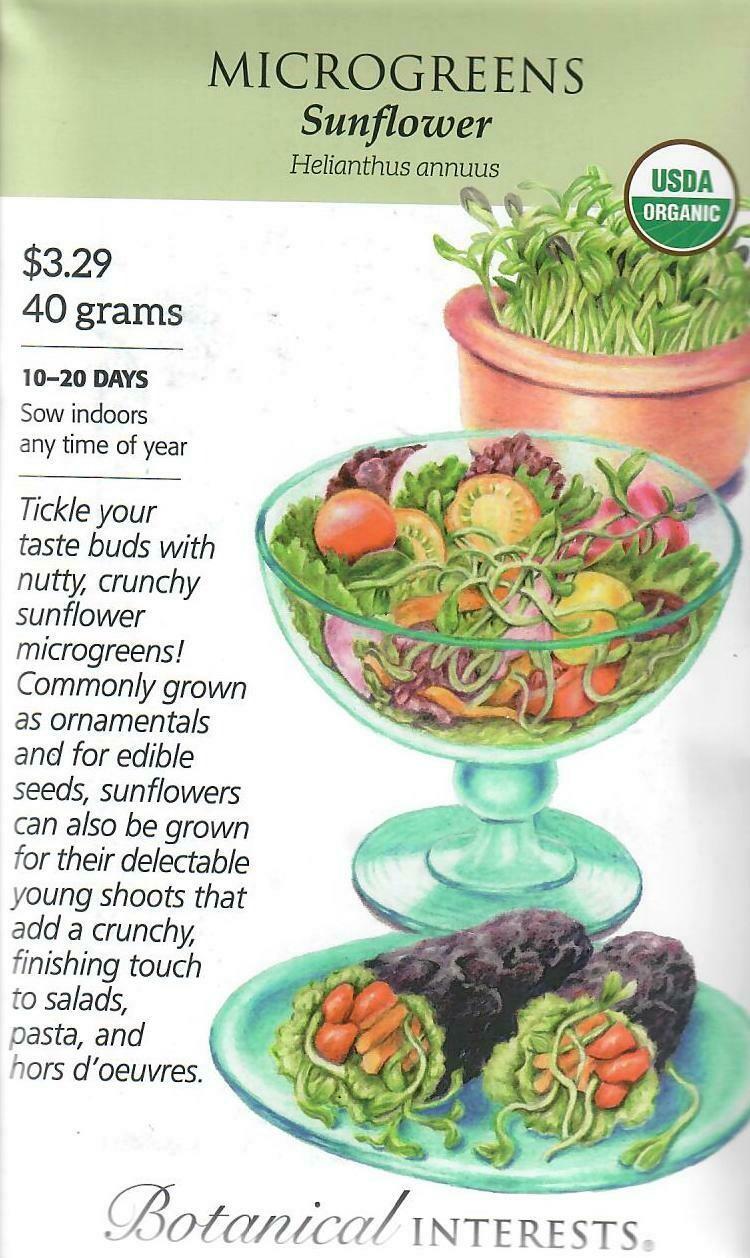 Microgreens Sunflower Org LG Packet Botanical Interests