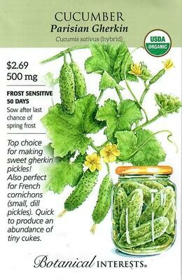 Cucumber Parisian Gherkin hybrd Org Botanical Interests