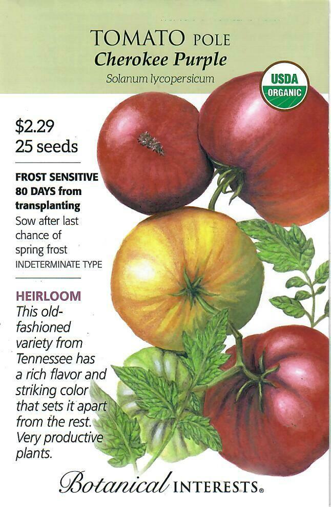 Tomato Pole Cherokee Purple Org Botanical Interests