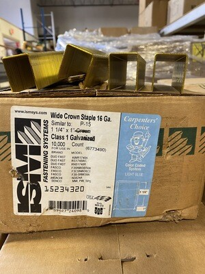 "1 ¼"" x 1"" Crown Staples-  Galvanized"