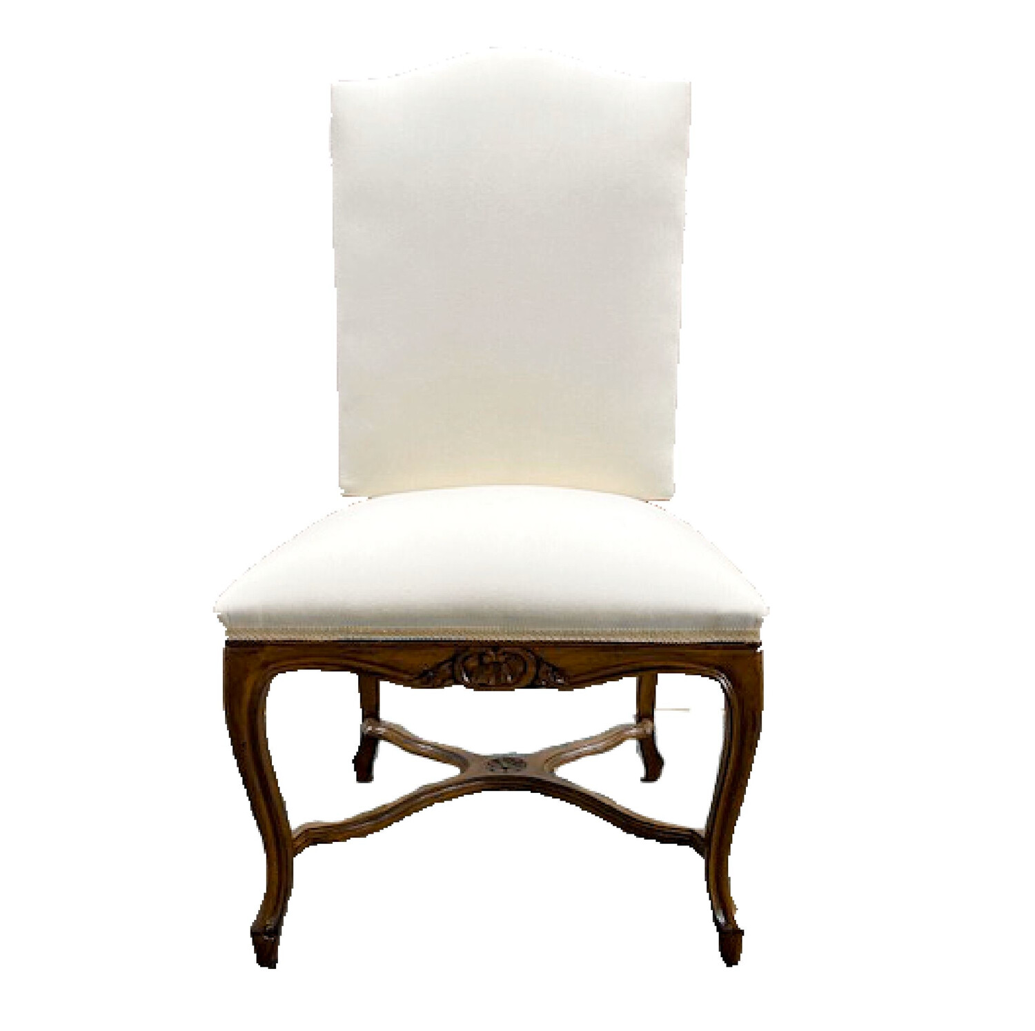 Auffray & Co White Linen Wood Carved Chair