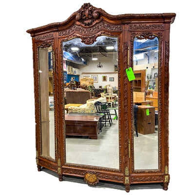 Antique Triple Mirror Armoire