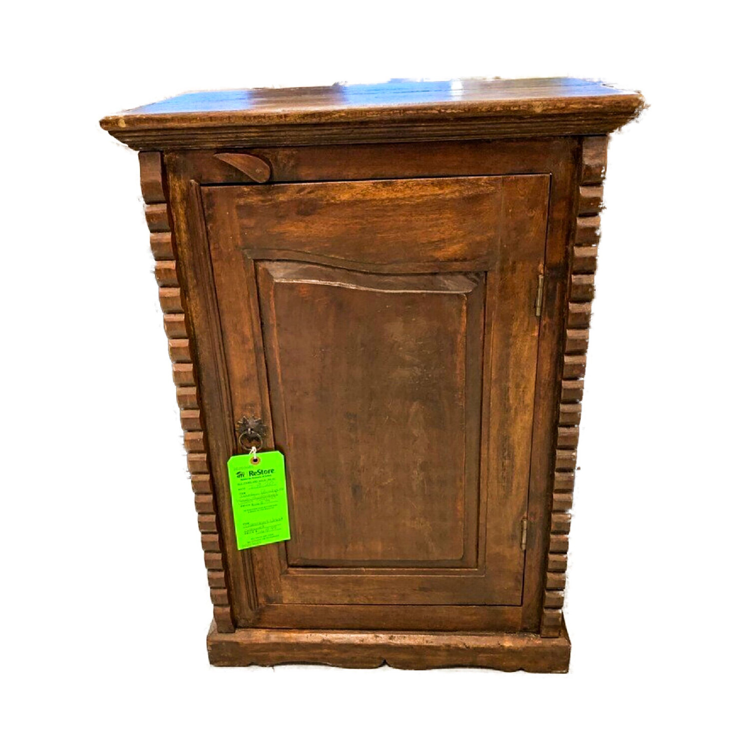 Country Farmhouse Brown Distressed Wood Cabinet