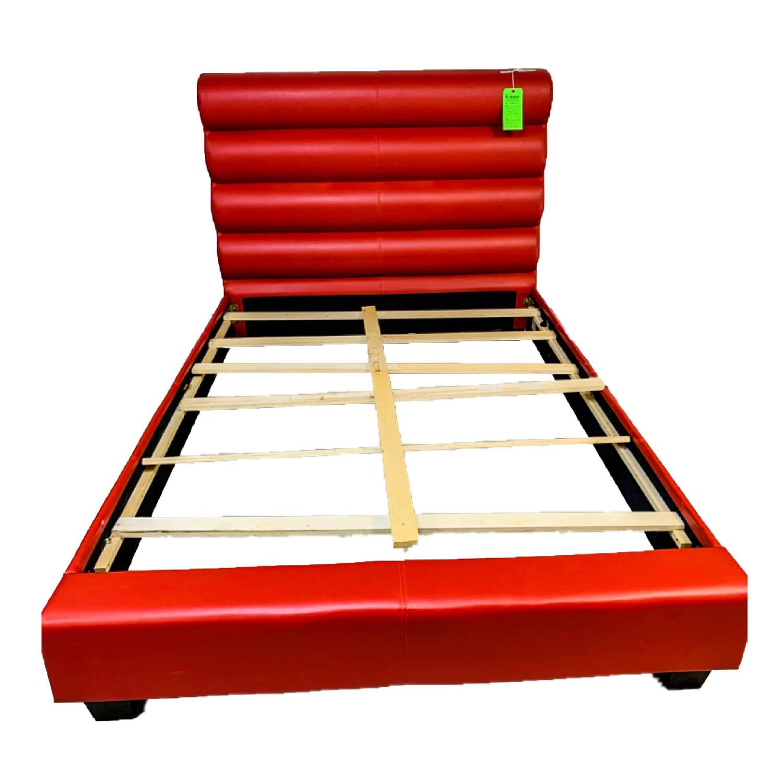 Red Vinyl Bed Frame Full Size