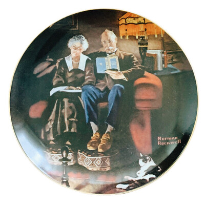 "Norman Rockwell  "" Evenings Ease "" Collectors China"