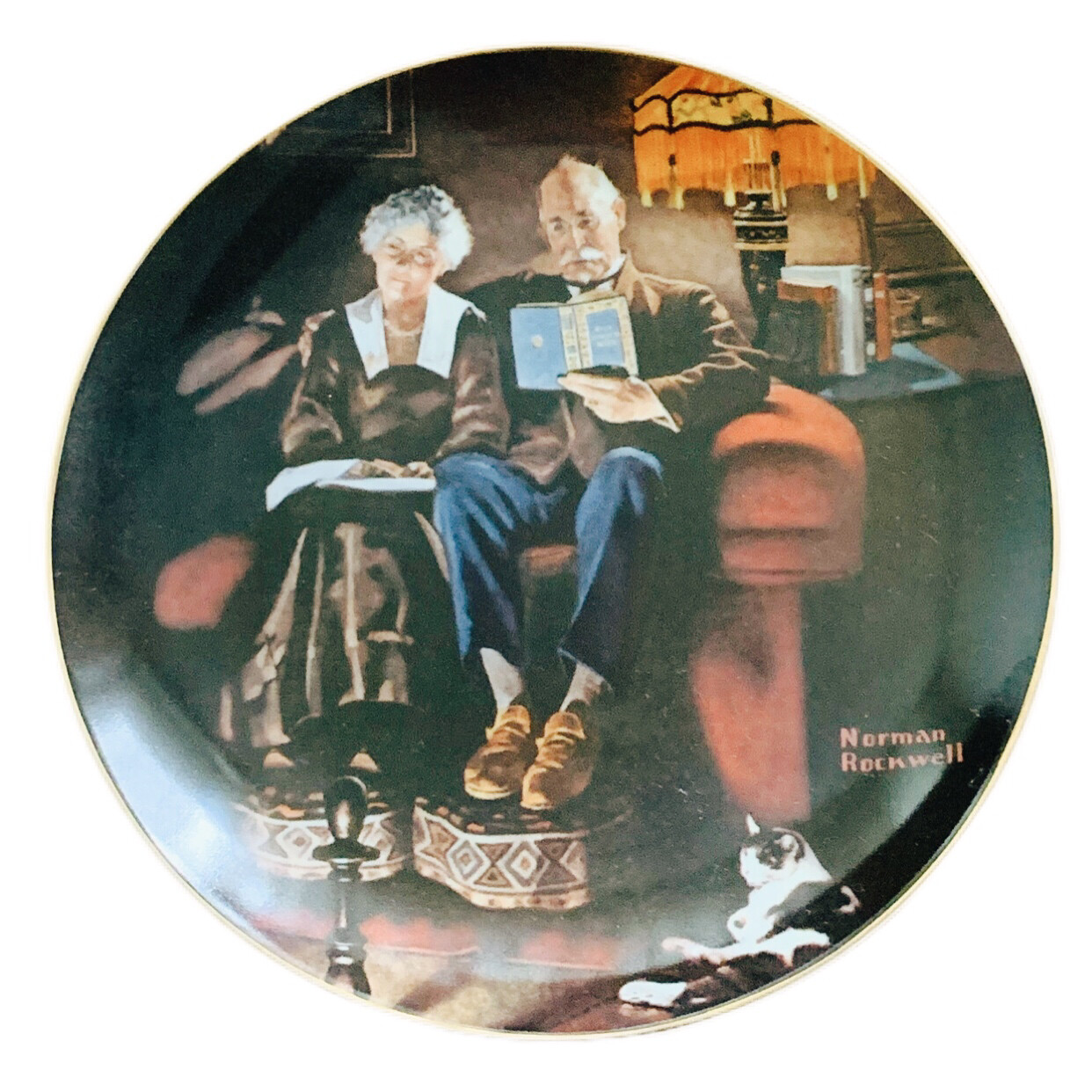 """Norman Rockwell  """" Evenings Ease """" Collectors China"""