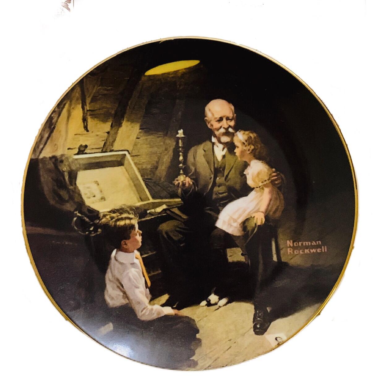 """Norman Rockwell """" Grandpa's Treasure Chest"""" Collectors China"""