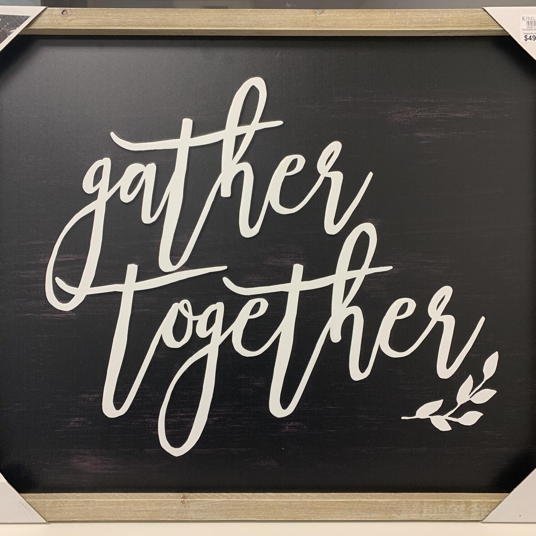 Black Gather Together Framed Metal Wall Plaque