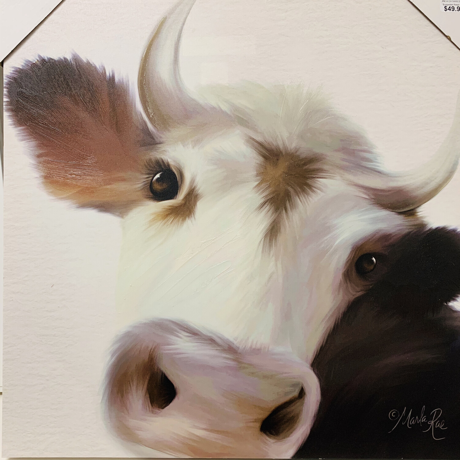 Cow Thinking Deeply Canvas Art