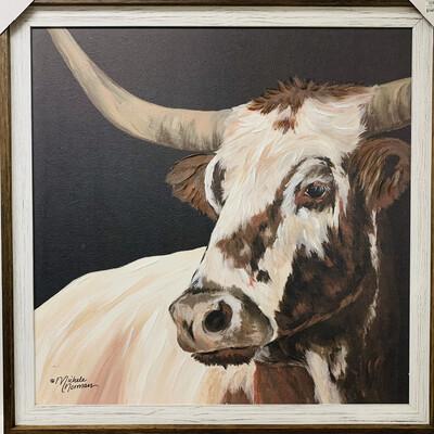 Longhorn Love Framed Canvas