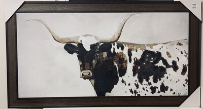 Steer Framed Wood Art Print