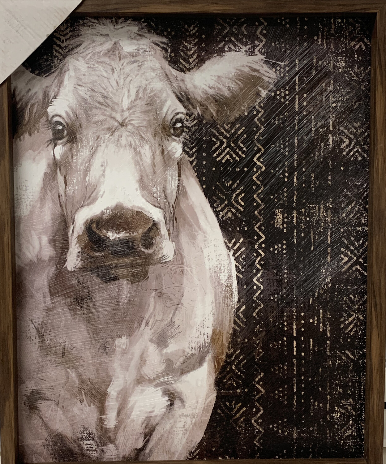 White Cow With Pattern Background Canvas Art