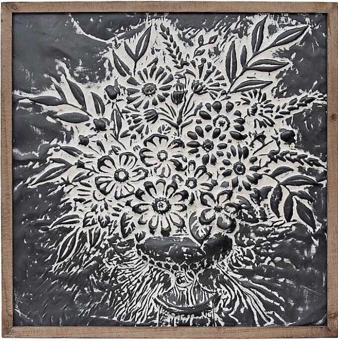 Metal Embossed Floral Framed Plaque