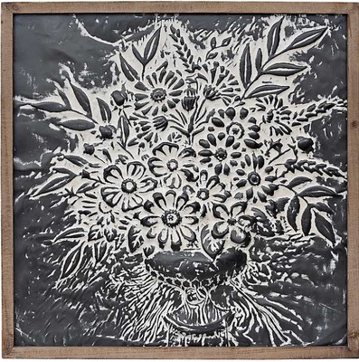 Metal Embossed Floral Framed Plaque