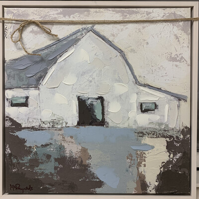 Blue Roofed Barn Framed Canvas Art Print
