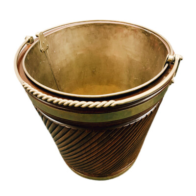 Irish Mahogany Peat/Turf Bucket With Handled Copper Liner