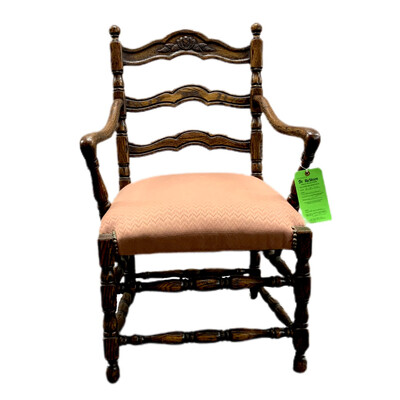 Carved Armchair With Pink Upholstered Seat