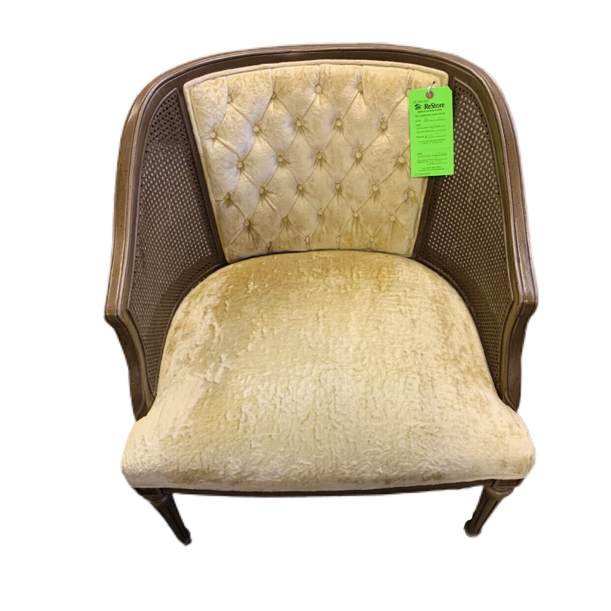 Caned Tufted  Arm Chair
