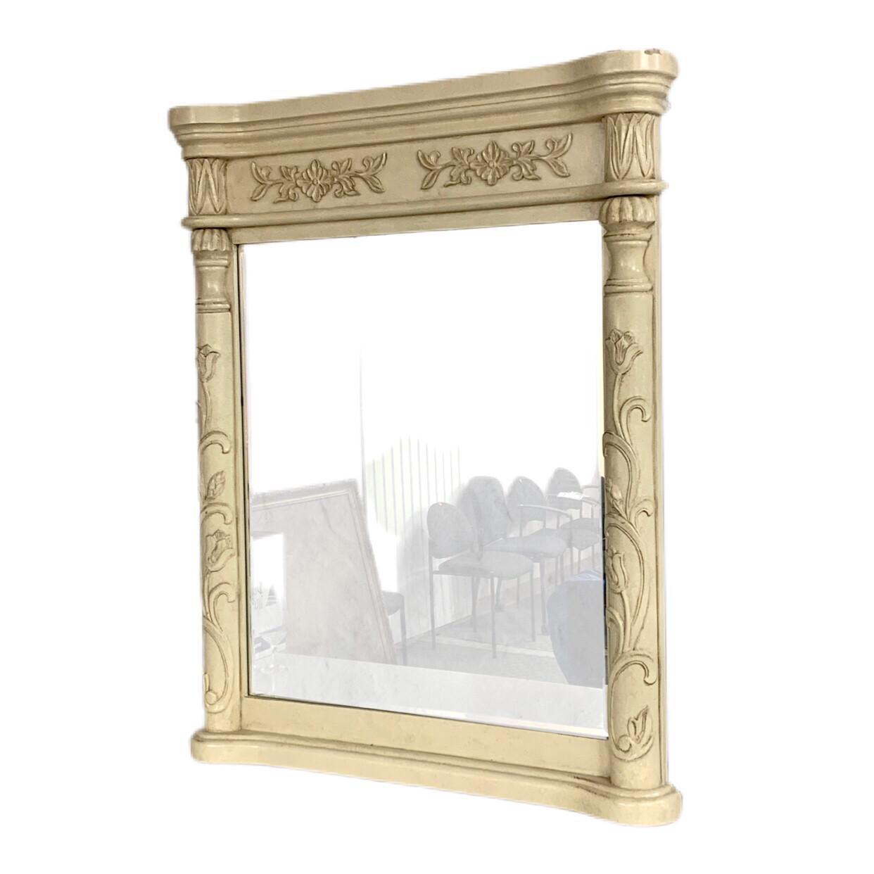 White Floral Mirror