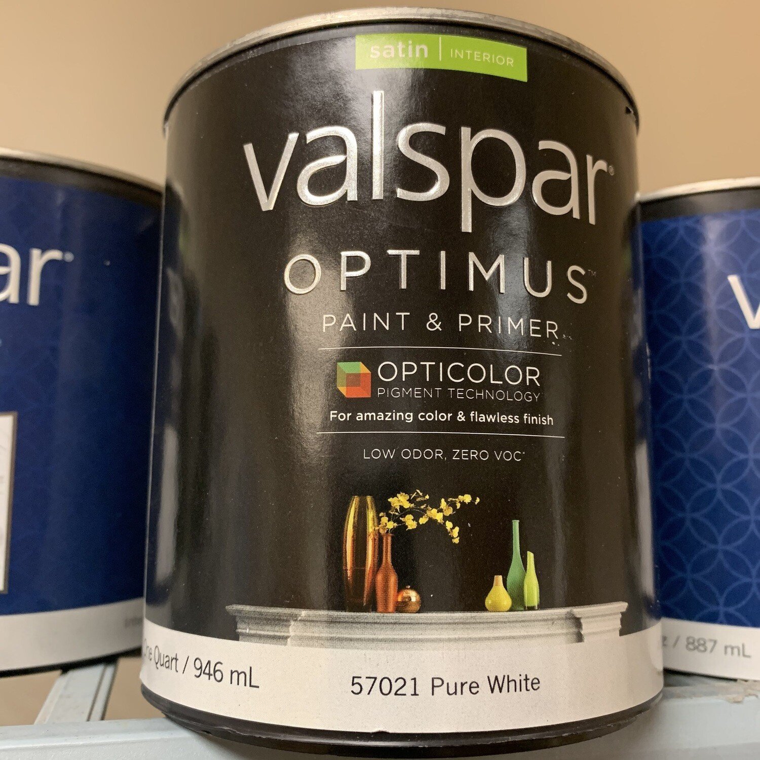 Qt Valspar Paint & Primer Satin Pure White Base 57021