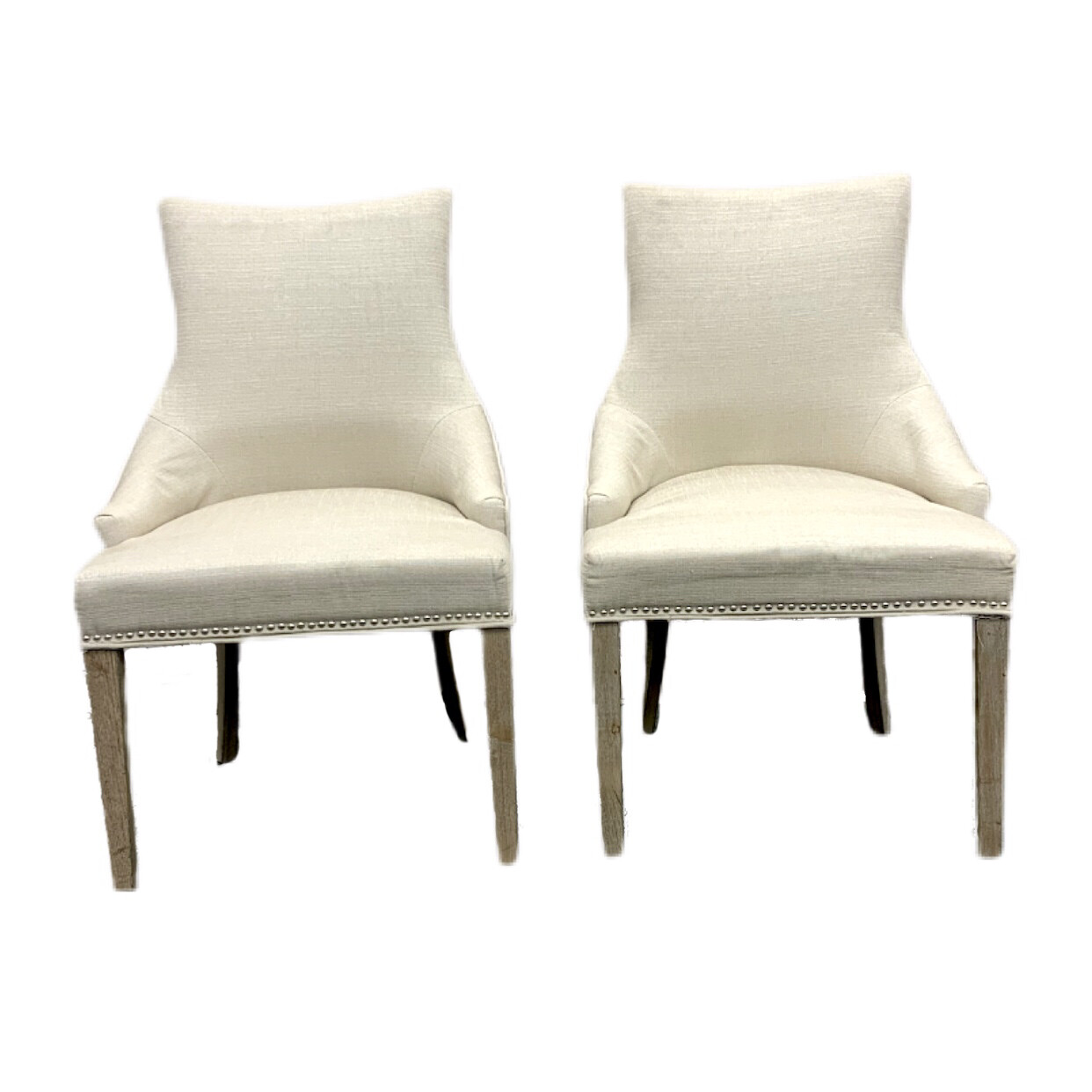Pair of Cream Upholstered Dining Chairs