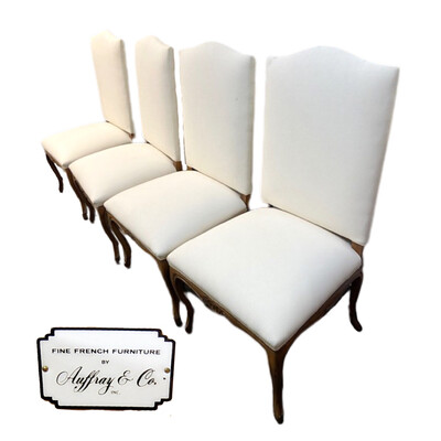 4 Auffray & Co White Linen Wood Carved Chairs