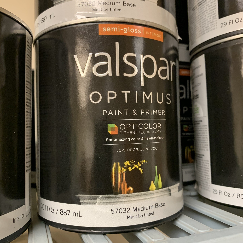 30 Oz Valspar Paint & Primer Semi Gloss Med Base 57032