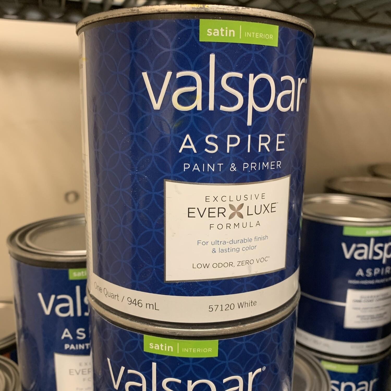Qt Valspar Paint & Primer Satin  White Base  57120