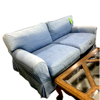 Lee Industries Off- White Couch W Blue Cover