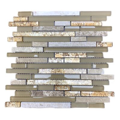 Box Of Cappuccino Glass Mosaic  & Stone  Tile