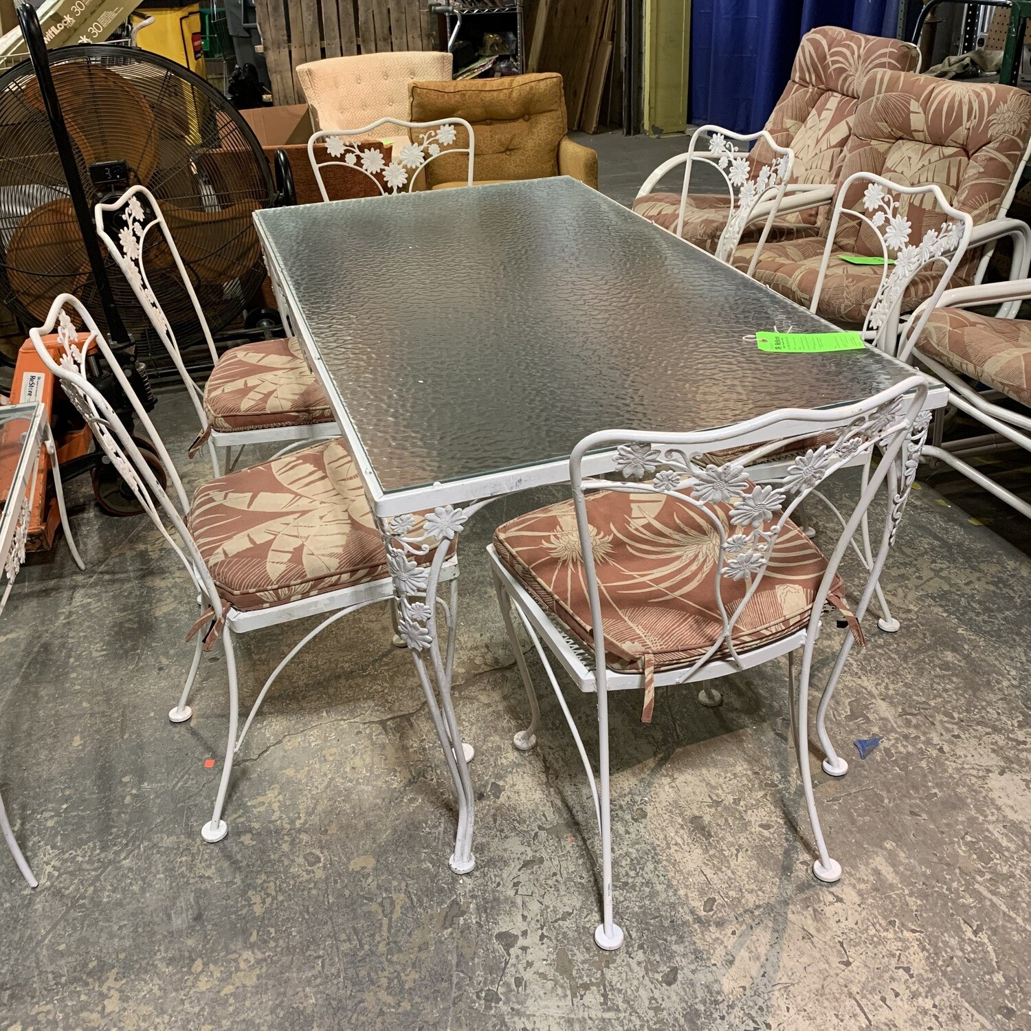 6 Outdoor Chairs, Dining Table, & Coffee Table With Cushions