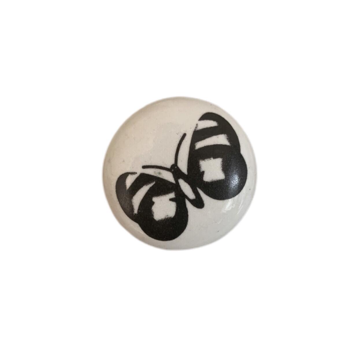 Black & White Butterfly Ceramic Knobs 10A