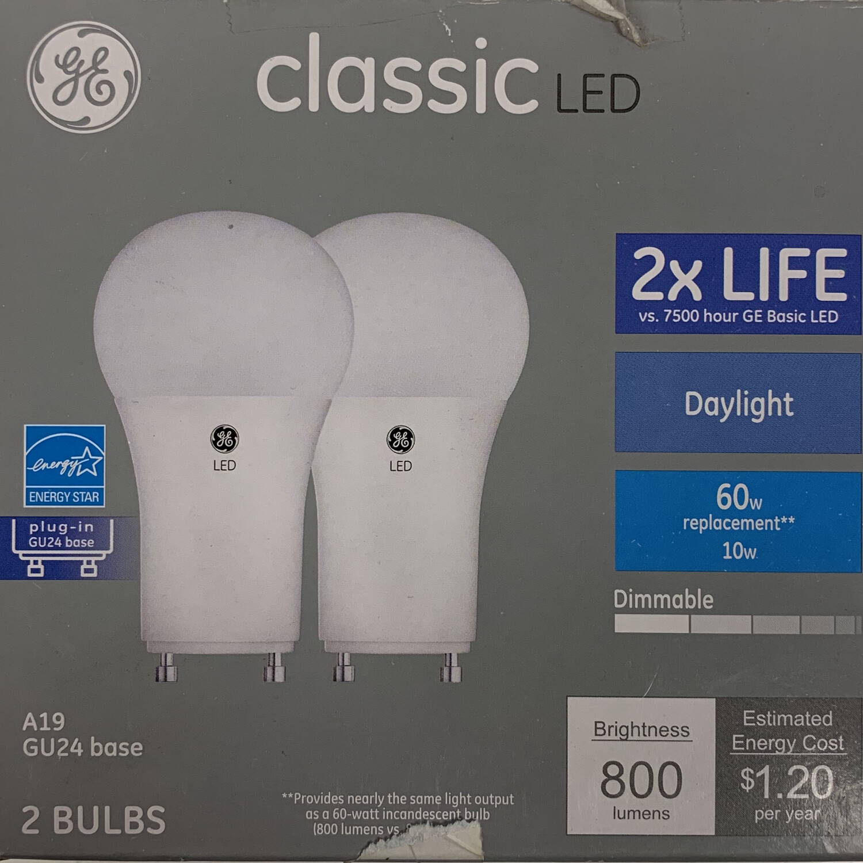 GE Classic LED GU24 Base Daylight Light Bulb 2 pack