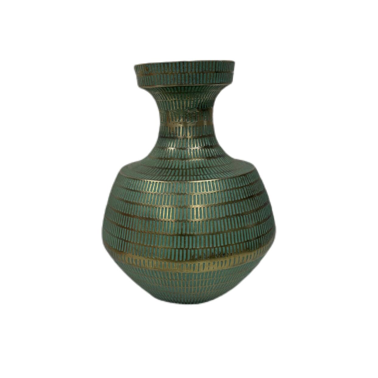 Currey & Company Nallan Antique Brass/Green Vase