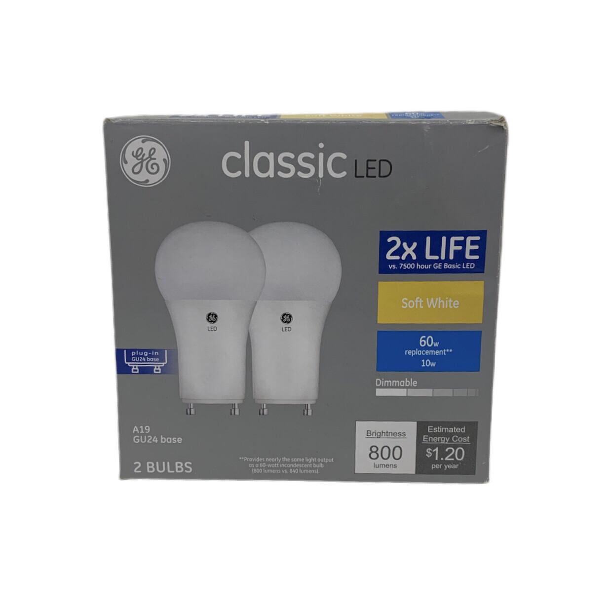 GE Classic LED GU24 Base Soft White Light Bulb 2 Pack
