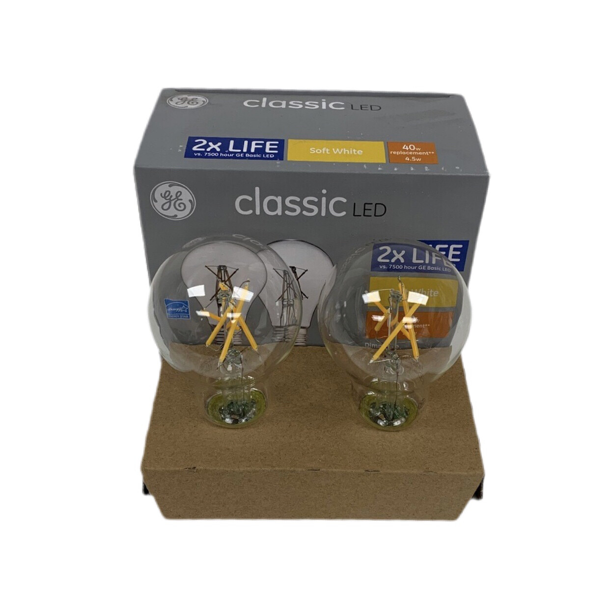 GE Classic LED Soft White Dimmable Light Bulbs 2 Pack