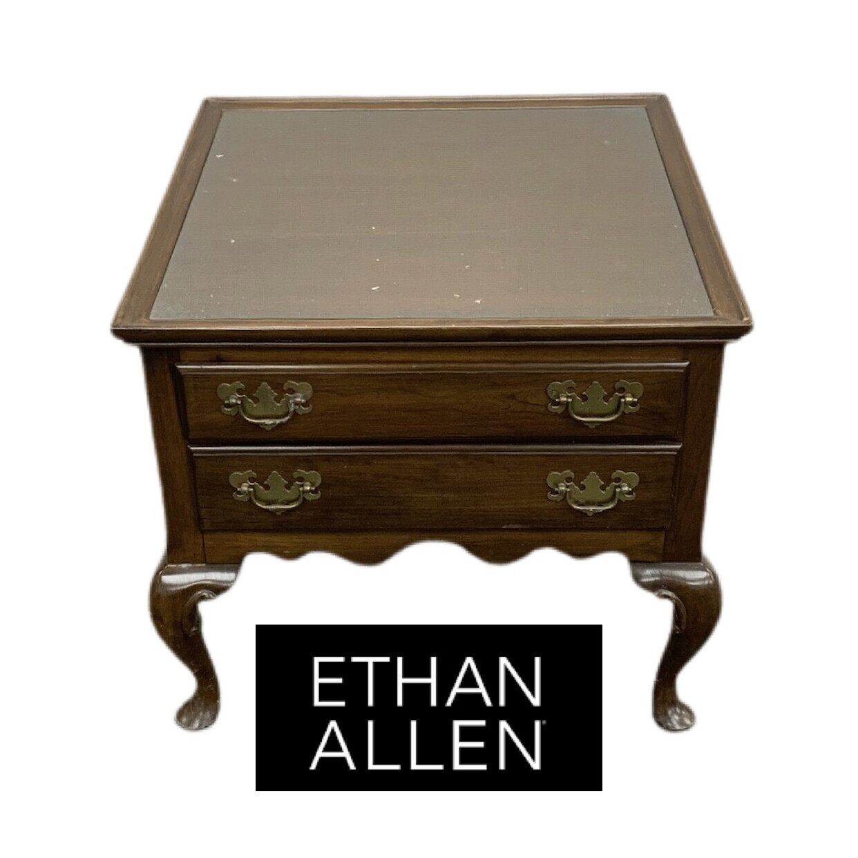 Ethan Allen 2 Drawer Side Table