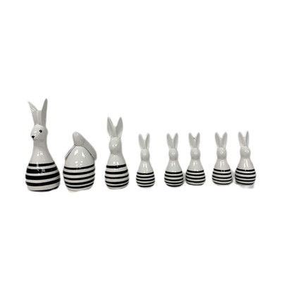 8pc  Farmhouse Ceramic  Bunny Set