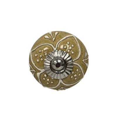 Ceramic Embossed Flower Knob 2D