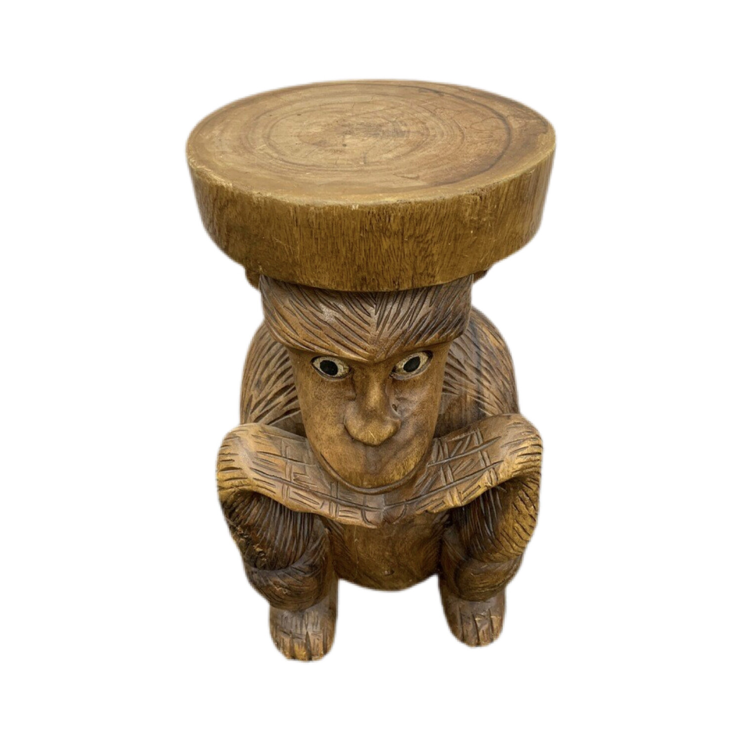 Hand Carved Wood Monkey Table