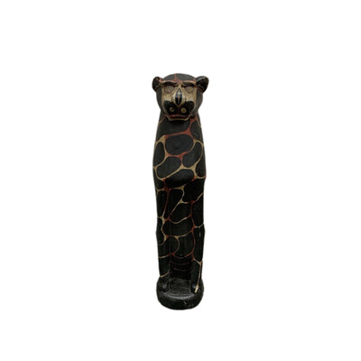 Hand Pained Wooden Black & Red Wild Cat