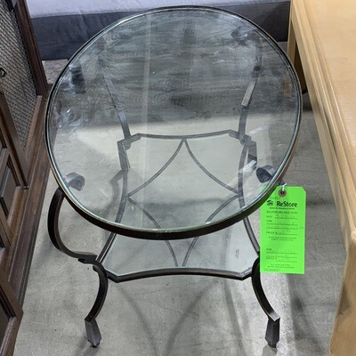 Oval Metal & Glass Coffee Table