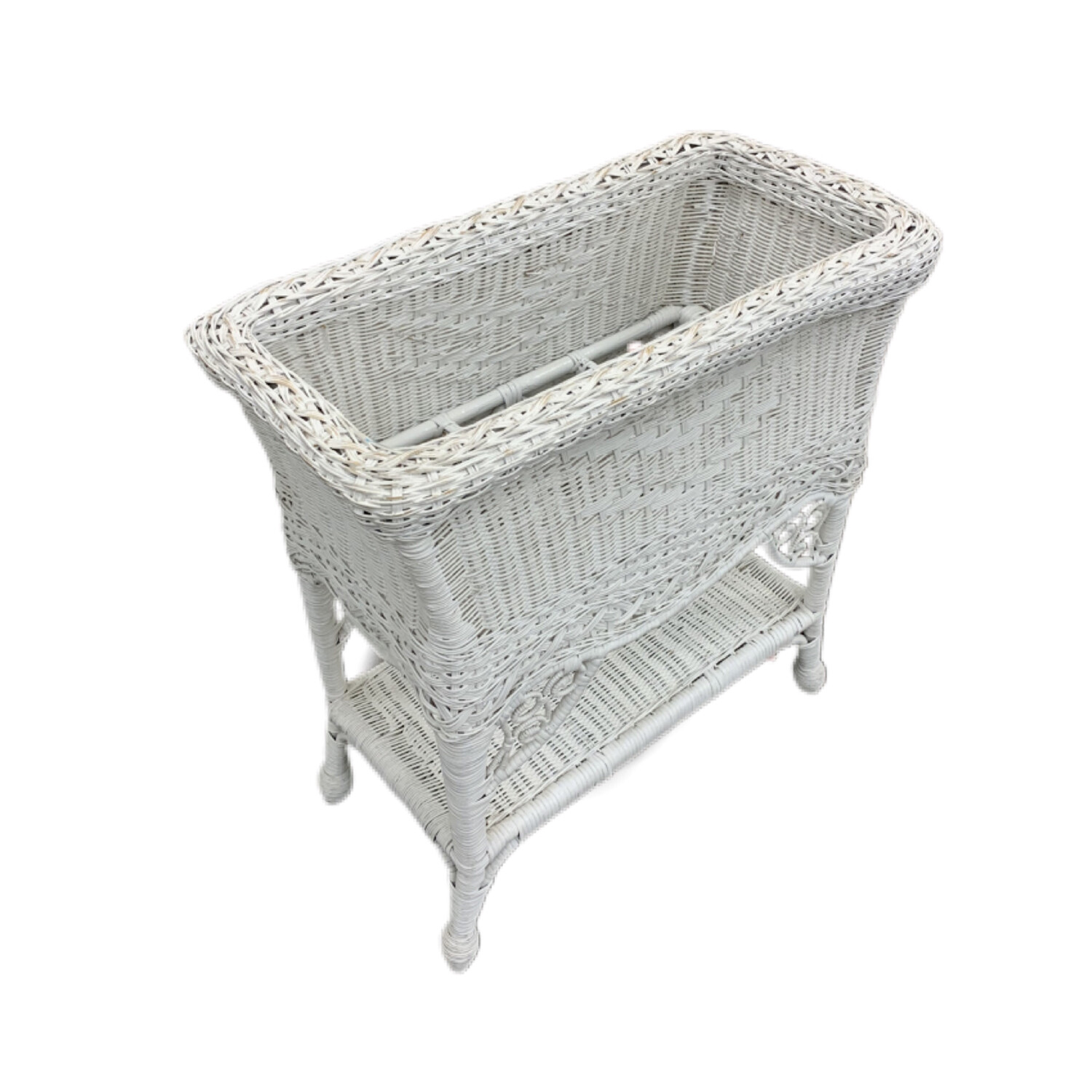 White Wicker Entry Basket