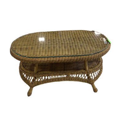 Wicker Glass Top Coffee Table