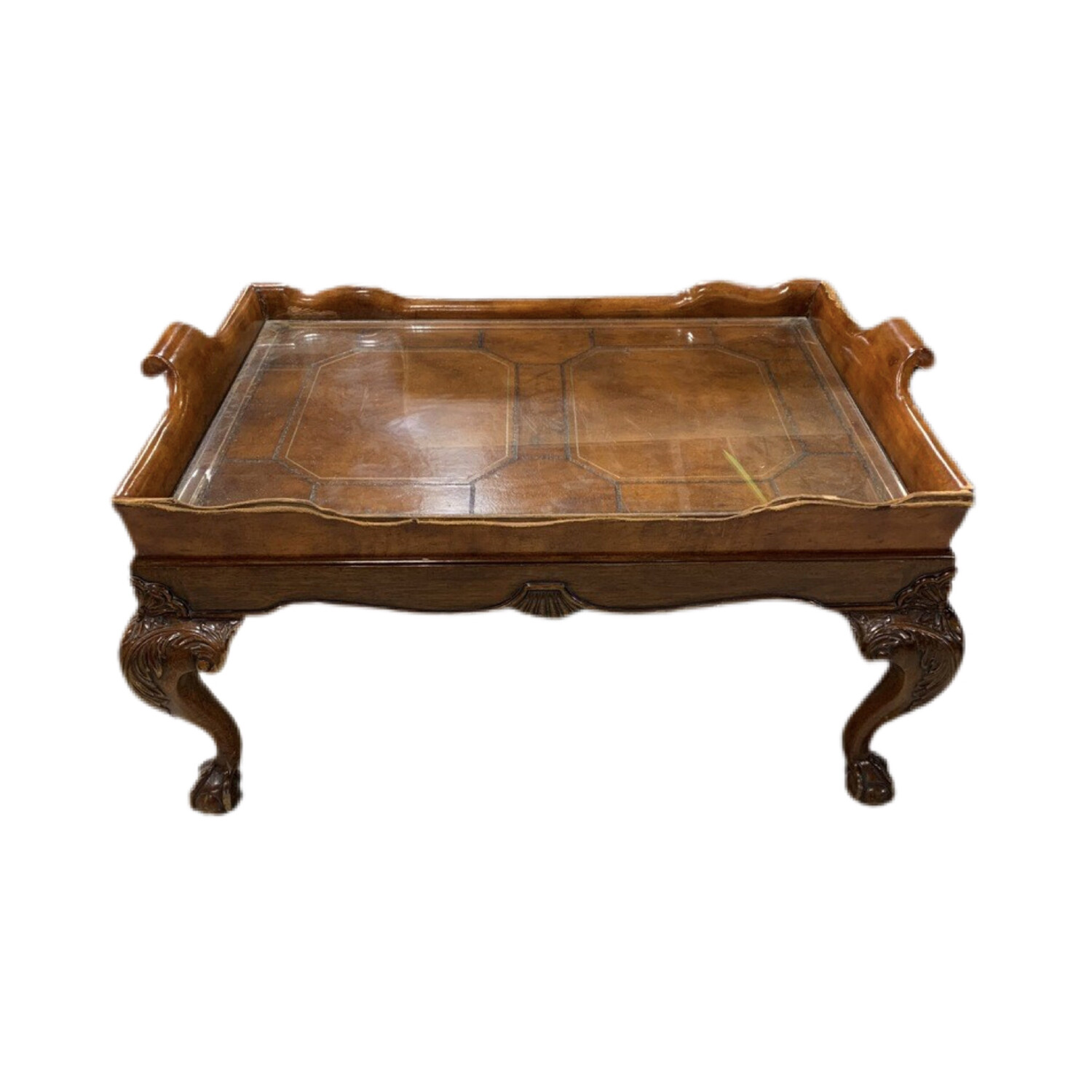 Wooden Center Coffee Table With Glass